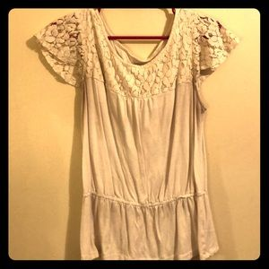 Cream Blouse with Designed/Lace-Like Top